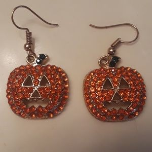 Orange crystal pumpkin earrings